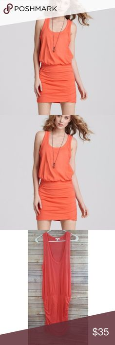 SOFT JOIE BOND Neon Coral Racerback Ruched Dress Great Used Condition  Up for sale is a nice coral color sleeveless racerback dress that has ruching on each side of the dress  Measurements  Across the bust-19  Length-42 Soft Joie Dresses