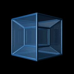 A Tessaract: the fourth dimensional analog of a cube. Imagine square in 2 dimensions becomes a cube in 3 dimensions. You can still draw an image of cube on a sheet of paper (i. in this is a drawing of a Tessaract. Optical Illusions Pictures, Illusion Pictures, Illusion Gif, Cubes, The Tesseract, Math Patterns, Doodle Patterns, A Wrinkle In Time, Circle Art