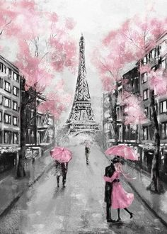 Paris Painting, Diy Wall Painting, Pink Painting, Painting Canvas, Paint Decor, Wall Art Pictures, Print Pictures, Painting Pictures, Paris Kunst