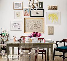 A salon-style grouping of art is a great way to put your interests on display.