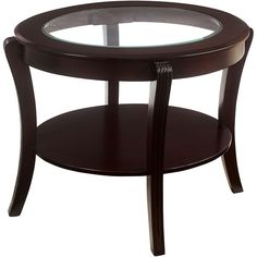 Serendipity Espresso Hila Transitional Glass-Top End Table ($143) ❤ liked on Polyvore featuring home, furniture, tables, accent tables, oval end table, oval side table, oval table and oval accent table
