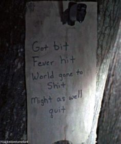 Note on the tree on walking dead tv series. If that doesn't sum up the future I don't know what will! Couldn't stop laughing ! Lol