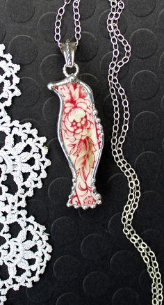 Necklace Broken China Jewelry Bird Pendant by Robinsnestcreation1