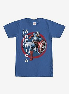 """Swoop in and save the day in this tee! A lightly distressed print on the front of this epic blue Captain America shirt features everyone's favorite American hero running with his shield next to his name """"Captain America"""" printed in bold letters. Captain America Star, Captain America Comic Books, Venom T Shirt, Iron Fist Marvel, Royal Blue T Shirt, Superhero Fashion, Comic Book Pages, Mens Tees, Hoodie"""