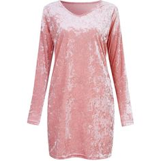 Casual Velvet Solid Color V-neck Long Sleeve  Mini Dress ($23) ❤ liked on Polyvore featuring dresses, pink, red mini dress, long-sleeve mini dress, red evening dresses, short red dress and long-sleeve maxi dresses