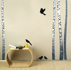 SET of REALISTIC BIRCH TREES with Birds Wall Decals Wall Sticker REUSABLE