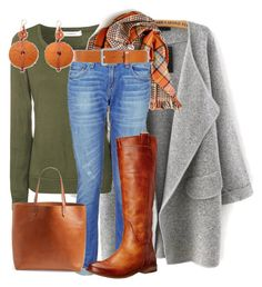 """Grønt, grått, cognac og denim."" by inger-lise on Polyvore featuring Glamorous, rag & bone, Diesel, Madewell, Frye and NOVICA"