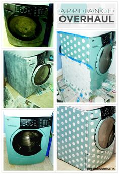 Stenciling a Washer/Dryer Set with Polka Dots!
