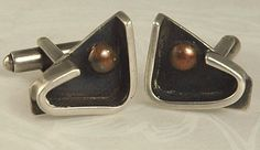 Check out the deal on Modernist Sterling and Copper Abstract Cufflinks Signed SAM KRAMER at Amazing Adornments