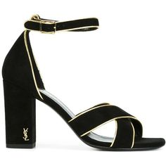 Saint Laurent High Heel Sandals (34,180 DOP) ❤ liked on Polyvore featuring shoes, sandals, black, strappy sandals, black strap sandals, open toe sandals, strappy block heel sandals and black ankle strap sandals