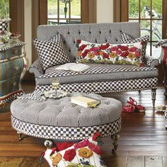 Buy Country decor for the Elegant Home you love! Home portfolio of MacKenzie-Childs Loveseats ideas! Buy Furniture You Love! Funky Furniture, Painted Furniture, Mackenzie Childs Furniture, Mackenzie Childs Inspired, Home Furnishings, Love Seat, Living Room Decor, Interior Design, Decoration