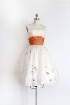 vintage 1950s dress // 50s chiffon evening prom  dress by TrunkofDresses
