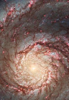 These images by NASA's Hubble Space Telescope show off two dramatically different face-on views of the spiral galaxy M51, dubbed the Whirlpool Galaxy.  The image at left, taken in visible light, highlights the attributes of a typical spiral galaxy, including graceful, curving arms, pink star-forming regions, and brilliant blue strands of star clusters. In the image at right, most of the starlight has been removed, revealing the Whirlpool's skeletal dust structure, as seen in near-infrared…