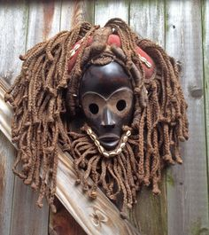 AFRICA,DAN,MASK,WOOD,SHELLS,FABRIC,ROPE HAIR,IVORY COAST