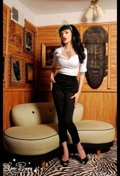 rockabilly girl. love the cigarette pants