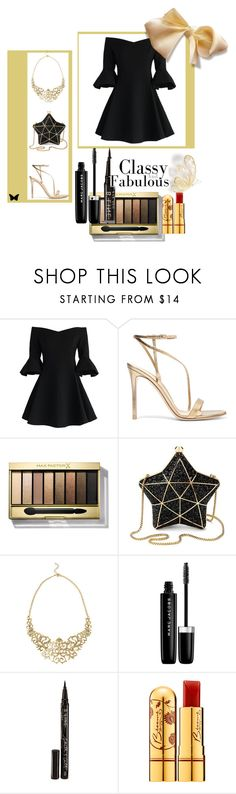 """""""Holiday Party"""" by musie-della ❤ liked on Polyvore featuring Chicwish, Gianvito Rossi, Max Factor, Aspinal of London, Marc Jacobs, Smith & Cult, Bésame, blackandgold, party and holiday"""