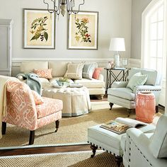 love the color combination in this room! And the ginger jar style coral garden seat. Gorgeous!