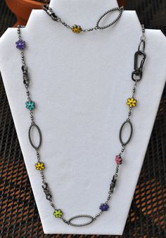 Fun Colorful Necklace of Antiqued Silver and by JewelryArtByGail SOLD