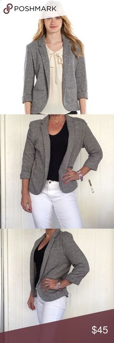 "NWT LAUREN CONRAD FRENCH TERRY BLAZER NWT LC Lauren Conrad French terry grey marled shawl collar blazer. Chic yet comfortable, this women's LC Lauren Conrad blazer combines a casual construction with a tailored fit for the perfect layering piece. In gray.  PRODUCT FEATURES Open front Cuffed 3/4-length sleeves Soft French terry construction Lined 3-pocket FABRIC & CARE Cotton, polyester Dry clean Imported all measurements are taken flat across and approximate. Bust 20"". Sleeve length 18-1/2""…"