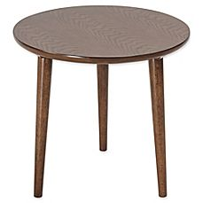 image of Madison Park Mid Mod Round End Table in Pecan