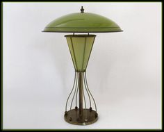 Cool 50s Mid Century Modern Atomic Table Lamp Green by MilosModern