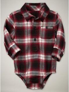 Plaid flannel onesie