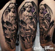 Skull and Angel tattoo