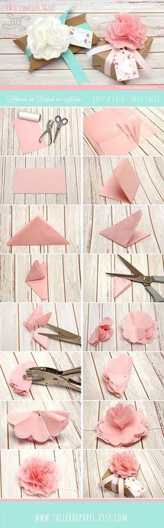 Origami Paso A Paso Facil Navidad Best Ideas Handmade Flowers, Diy Flowers, Fabric Flowers, Diy Paper, Paper Art, Paper Crafts, Papier Diy, Fleurs Diy, Tissue Paper Flowers