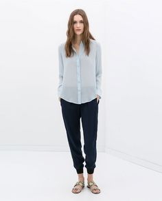 Image 1 of COMBINATION TROUSERS WITH CUFFED HEM from Zara