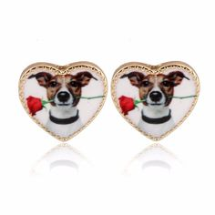 Valentine's Gifts Cute Gold Heart Pet Dog Stud Earrings for Women Party Gift Girls Nice Gifts OED088