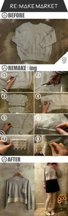 DIY Sweater Refashion Tutorial More