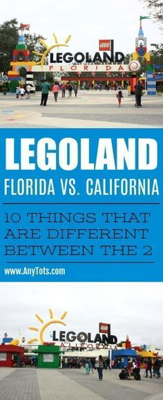 Legoland Florida vs. Legoland California. Check out all the 10 Ways Legoland FL and Legoland CA is different from each other. From which rides is unique to each legoland theme park, to food, hotels, activities, shows, and more. www.anytots.com #legoland #legolandfl #legolandca #legolandcalifornia #legolandflorida #travel #familytravel #themepark #themeparks #familytravelblog #florida #winterhaven #orlando