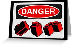 """""""Danger Bricks Sign by Customize My Minifig """" Greeting Cards & Postcards by ChilleeW 