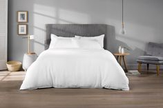 Sheridan Everyday Linen quilt cover set. Sheridan have a clearance outlet at DFO. Worth a try. For either bed go with plain white, waffle white or 100% linen