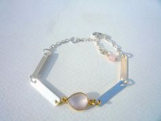 Modern Unique Sterling Silver and Vermeil bezel by Iridonousa Pink Gemstones, Sell On Etsy, Sterling Silver Bracelets, Things To Buy, Small Businesses, Rose Quartz, Elsa, Fans, Collections