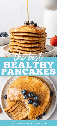 A Healthy Pancake Recipe that everyone will enjoy! Learn how to make healthy pancakes that you can load up with all your favorite toppings! Made with no banana - these are perfect for kids or adults! Healthy Muffins, Healthy Breakfast Recipes, Easy Healthy Recipes, Clean Eating Breakfast, Breakfast Smoothies, Vegan Butter, Salted Butter, Make Ahead Breakfast Casserole, Pancake Calories