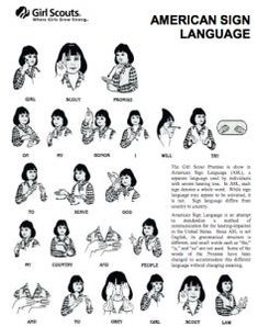 Girl Scout Promise in American Sign Language. #GirlScouts