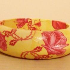 Yellow & Red Decoupaged Bangle
