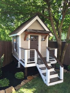 33 Best Tiny House Plans Small Cottages Design Ideas - All For Garden Small Cottage Designs, Small Cottage House Plans, Tree House Plans, Small Cottage Homes, Small Cottages, Tiny Homes, Small Houses, Cubby House Plans, Small Wooden House