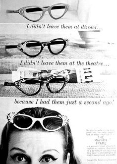 #zienrs #glasses #brillen #zonnebrillen Mayfair glasses ad, 1956.