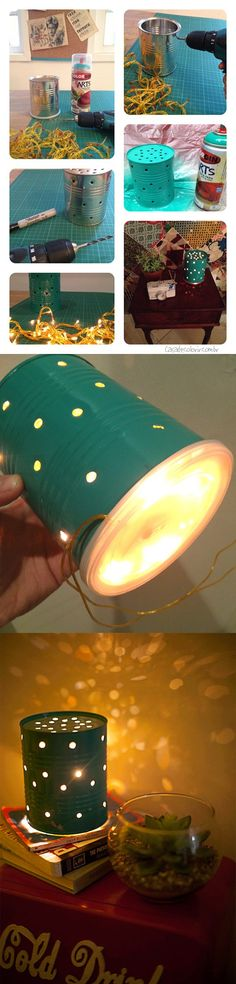 DIY Tin Can Lamp - blogremobilia.com - Lámpara reciclando lata