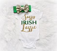 Baby girl clothing St. Patrick's Day outfit gold glitter sparkles  (onesie only) baby shower gift newborn onesie