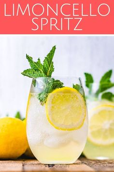 The Limoncello Spritz is a delightful combination of limoncello prosecco and club soda that will transport you to an Italian lemon grove It s the perfect summer cocktail recipe that everyone will love Holiday Drinks, Party Drinks, Cocktail Drinks, Cocktail Recipes, Wine Cocktails, Non Alcoholic Drinks With Club Soda, Club Soda Drinks, Lemonchello Drinks, Prosecco Cocktails