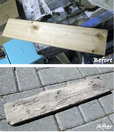 DIY How to turn an old piece of wood into faux driftwood · Recycled Crafts Driftwood Projects, Driftwood Art, Driftwood Furniture, Driftwood Headboard, Driftwood Stain, Recycled Crafts, Diy Crafts, Bois Diy, Beach Crafts