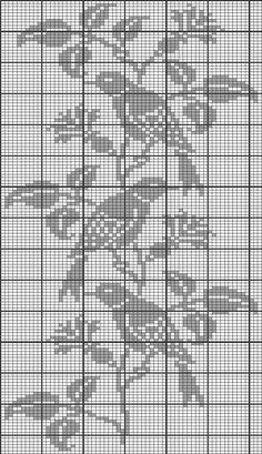 Sploty kolorowe - wzory Knitting Paterns, Knitting Charts, Filet Crochet Charts, Crochet Stitches, Cross Stitch Bird, Cross Stitch Patterns, Embroidery Patterns, Crochet Patterns, Crochet Curtains