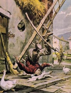 Molino, Walter (b,1915)- Fall from Ladder (Man Unharmed- Goose Died)- 'La Domenica del Corriere'- Mar. 1958