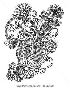 stock-vector-hand-draw-line-art-ornate-flower-design-ukrainian-traditional-style-85419550.jpg (373×470)