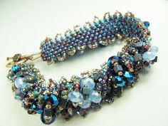 Beadwork Bracelet - Sparkle Factor is WOW - Blue Glass Seed Beads and Crystal - SRAJD