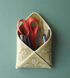 Porcelain Envelope Wall Vase | Though this nifty envelope wall vase was designed with flowers... | Vases by Hercio Dias