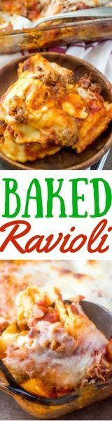 Easy Baked Ravioli Casserole recipe from The Country Cook. Only 5 ingredients! #easy #ideas #pasta #ravioli #casserole